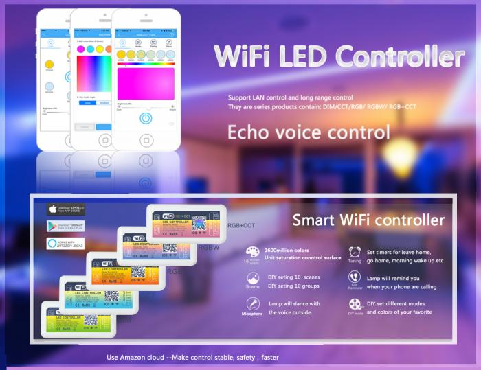 Wifi LED Controller with Echo Voice Control (Dim/CCT/RGB/RGB/RGB+CCT